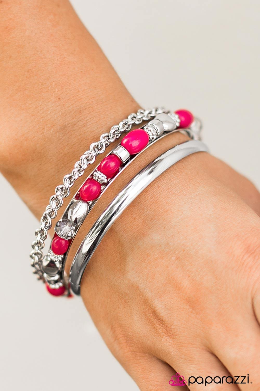 Bracelet Wave Silk Bracelet Summer Beach Silver Pink Pink Pink