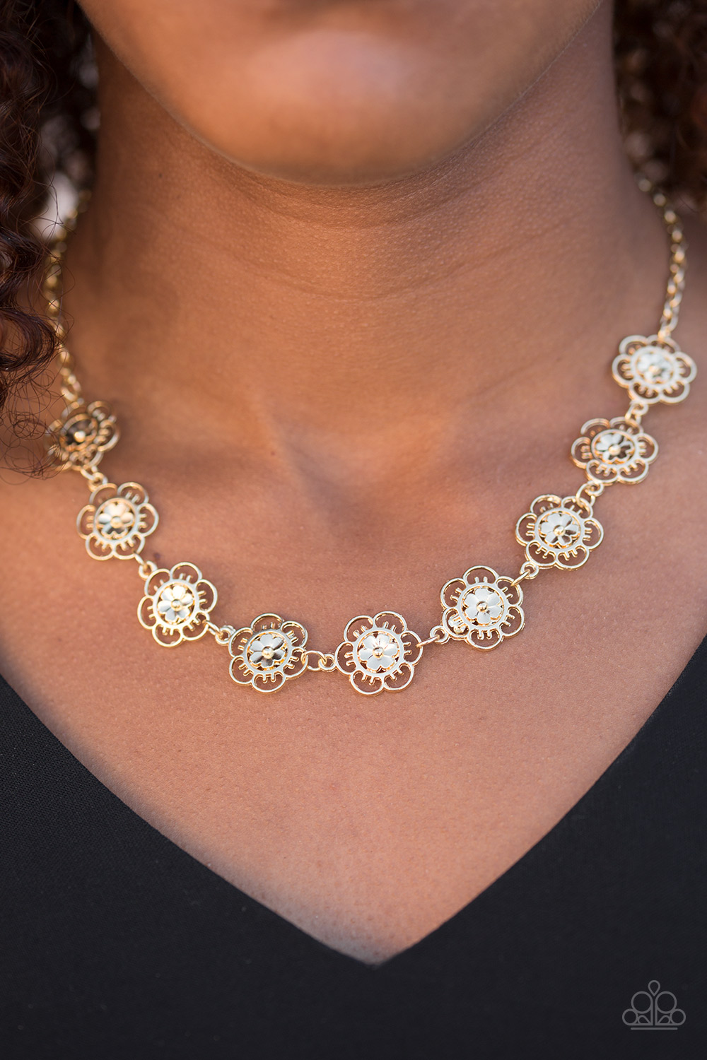 Paparazzi Necklace BLOOM Or Bust Brass