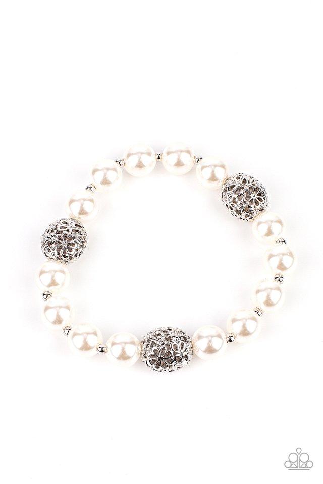 Upscale Whimsy - White - Paparazzi Bracelet Image