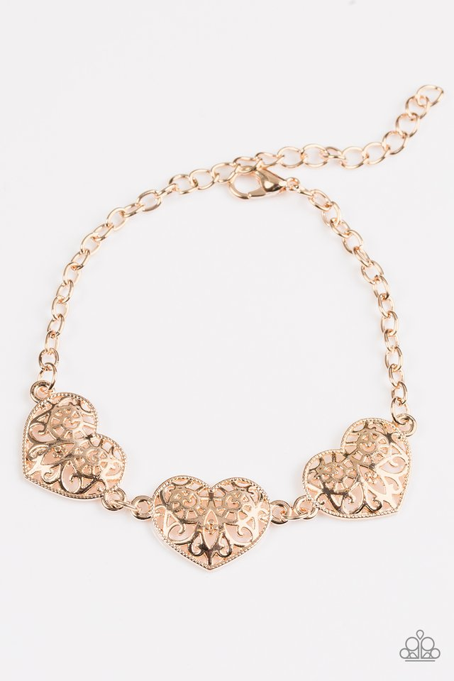 Paparazzi Accessories Fond Of Hearts Rose Gold