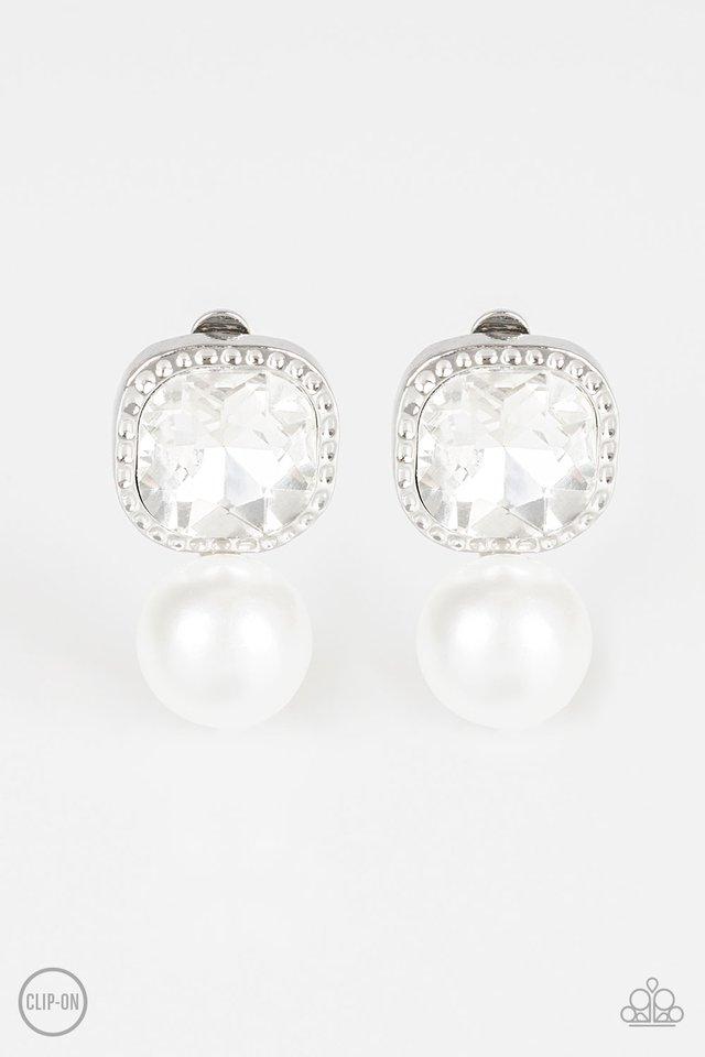 Gatsby Gleam - White Clip-On - Paparazzi Earring Image