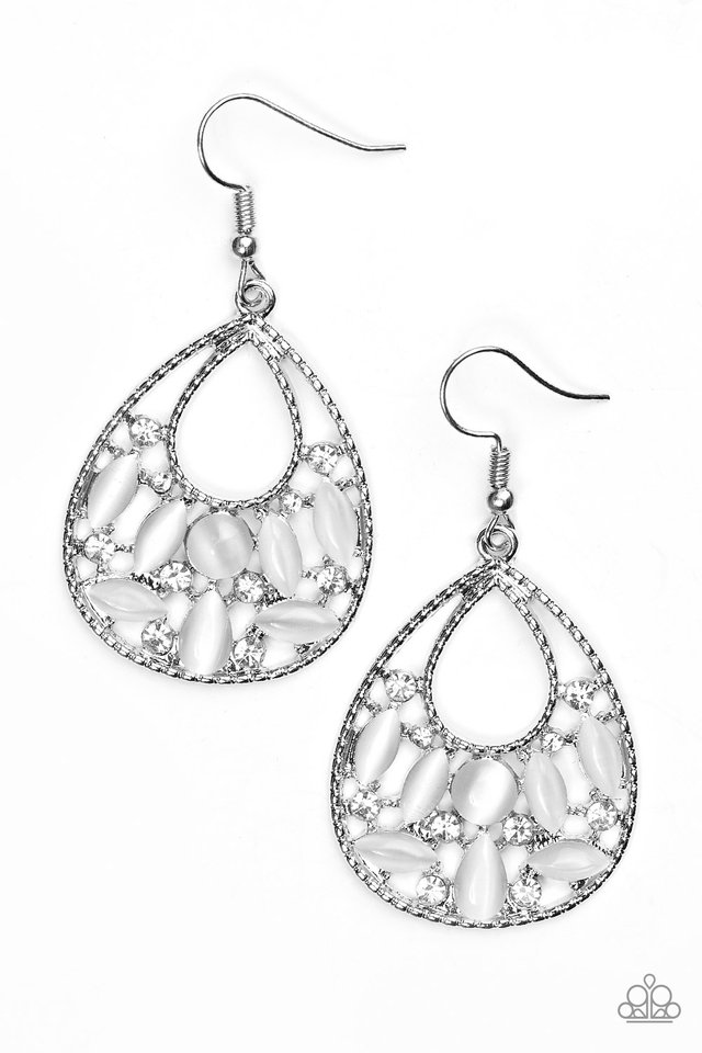 Just DEWing My Thing - White - Paparazzi Earring Image