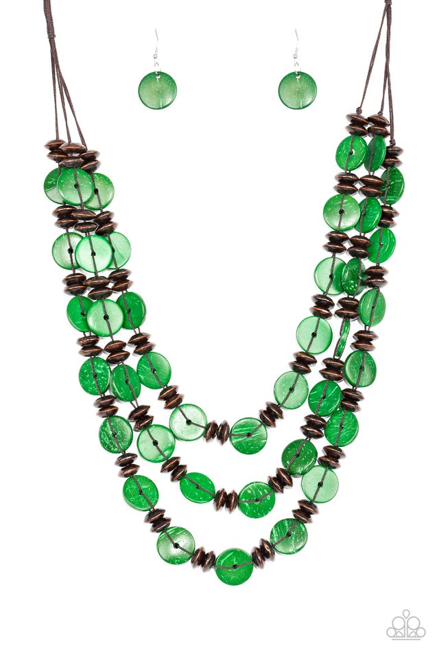 Key West Walkabout - Green - Paparazzi Necklace Image