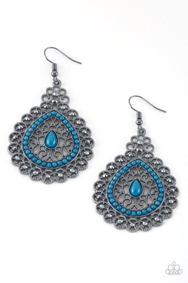 Carnival Courtesan - Blue - Paparazzi Earring Image