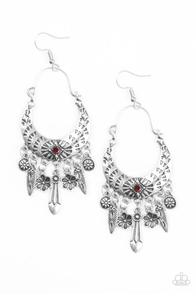 Nature Escape - Red - Paparazzi Earring Image