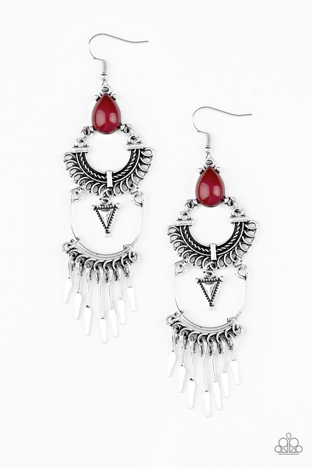 Progressively Pioneer - Red - Paparazzi Earring Image
