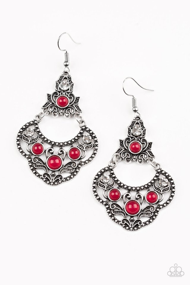 Garden State Glow - Red - Paparazzi Earring Image