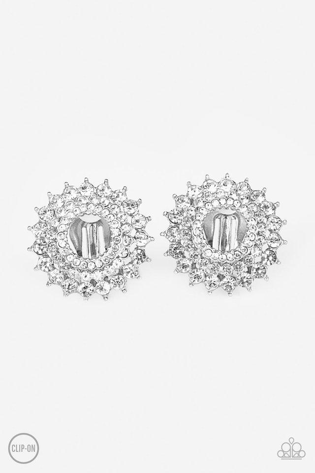 Buckingham Beauty - White Clip-On - Paparazzi Earring Image