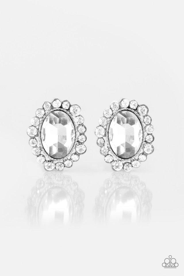 Hold Court - White - Paparazzi Earring Image