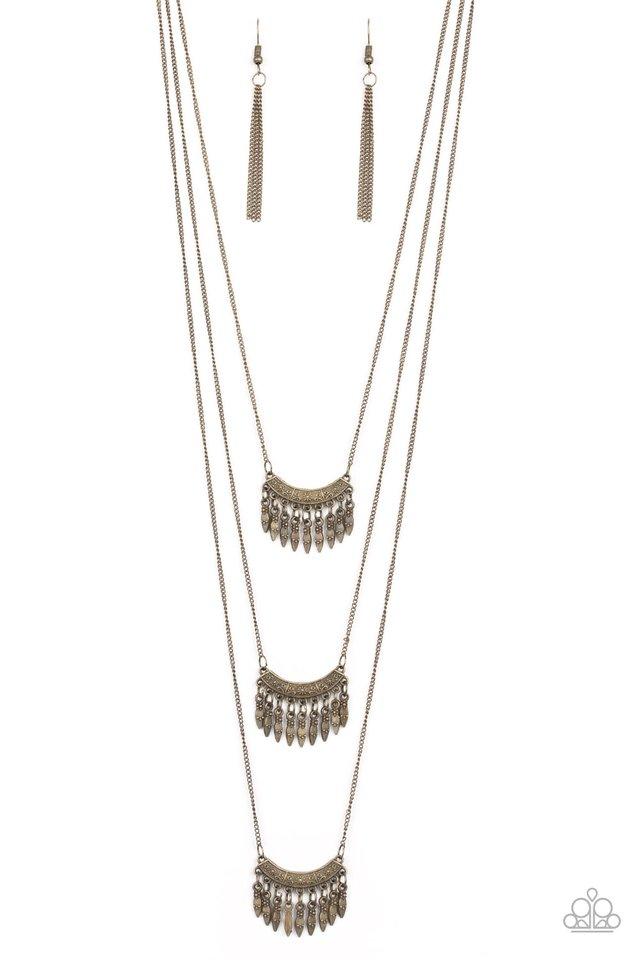 Seasonal Charm - Brass - Paparazzi Necklace Image