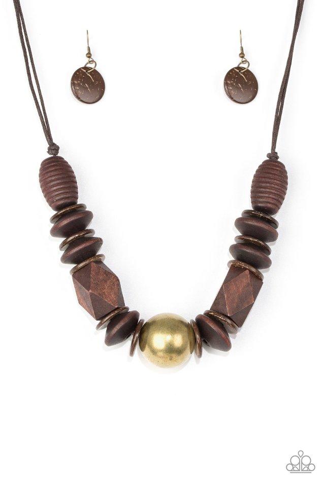 Grand Turks Getaway - Brass - Paparazzi Necklace Image