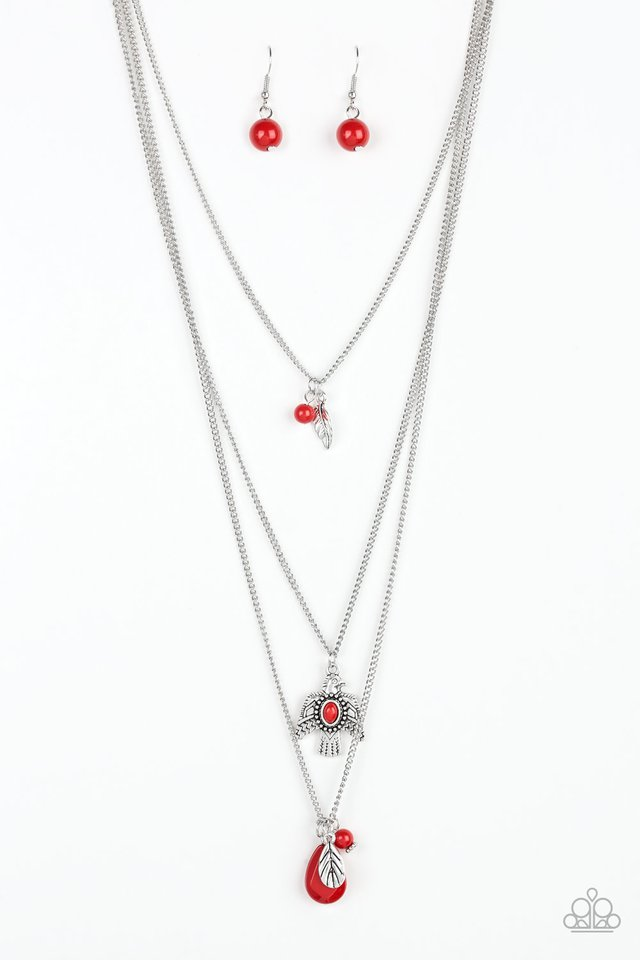 Soar With The Eagles - Red - Paparazzi Necklace Image