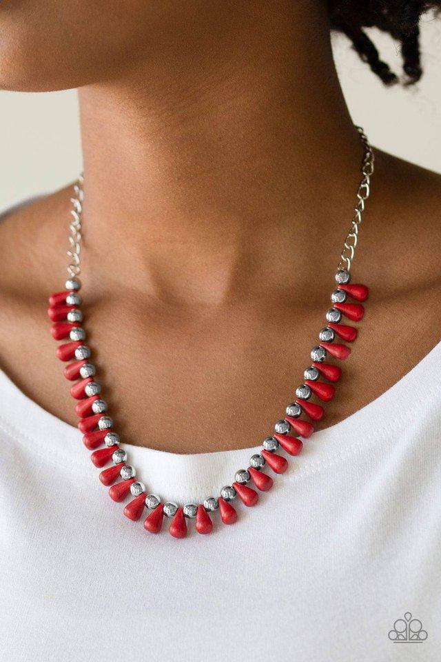 Extinct Species - Red - Paparazzi Necklace Image