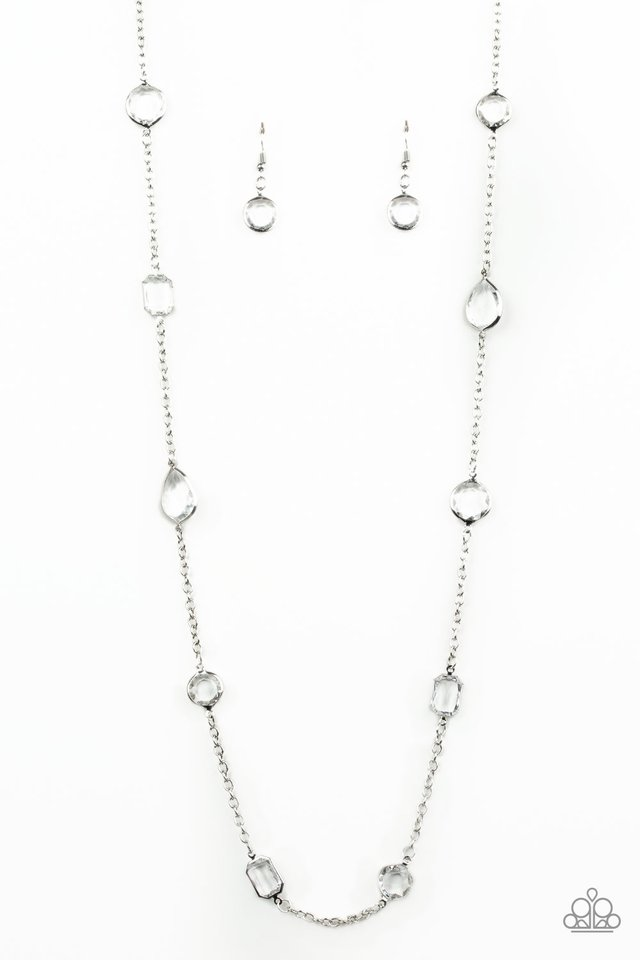 Glassy Glamorous - White - Paparazzi Necklace Image