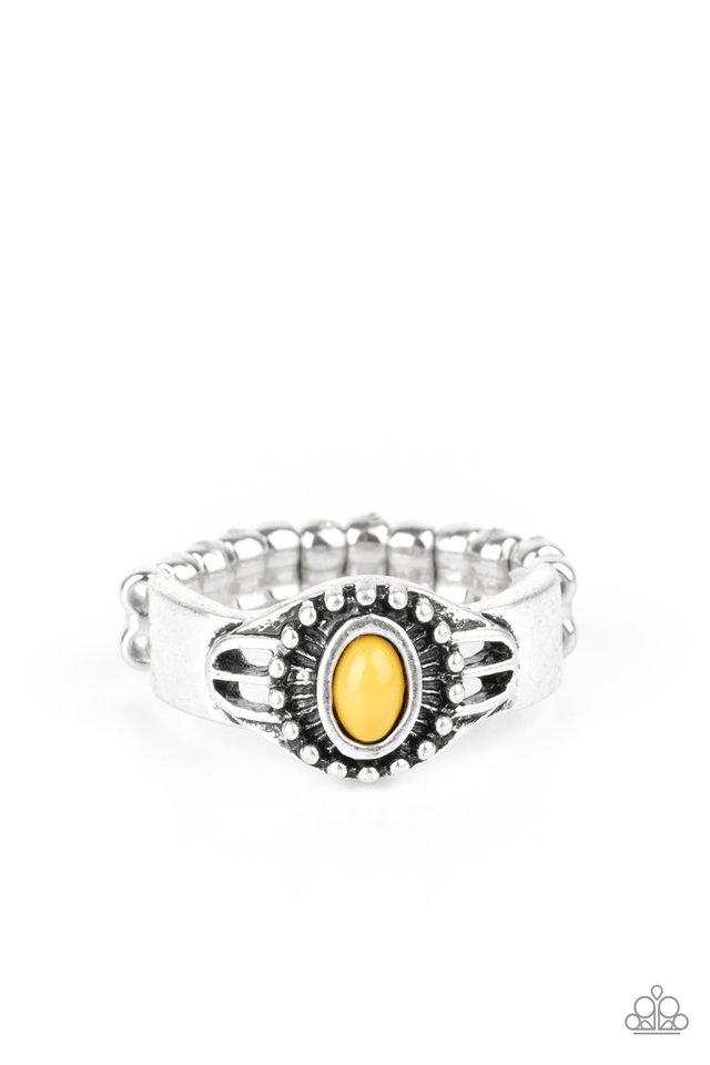 Right On TREK - Yellow - Paparazzi Ring Image