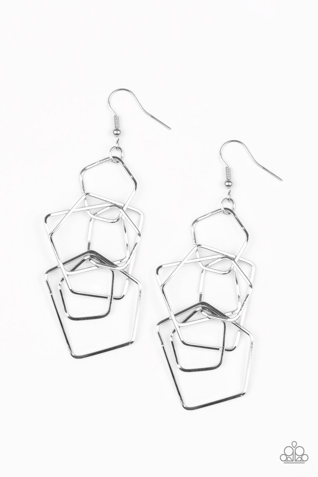 Five-Sided Fabulous - Silver - Paparazzi Earring Image