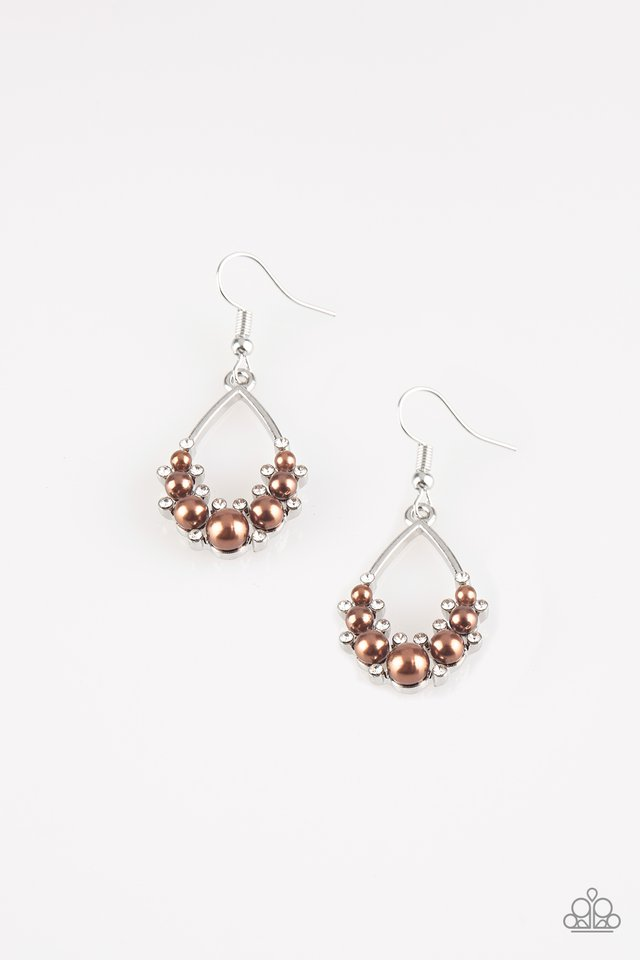 Fancy First - Brown - Paparazzi Earring Image