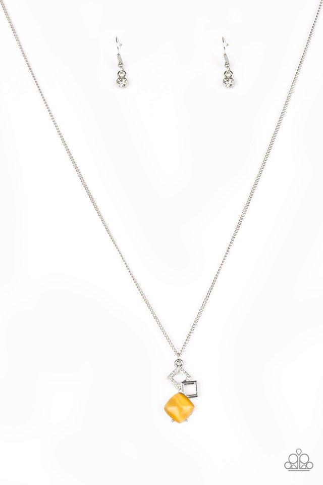 Stylishly Square - Yellow - Paparazzi Necklace Image