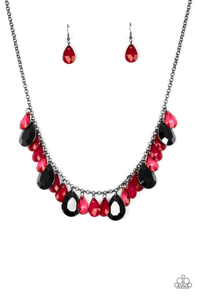 Hurricane Season - Red - Paparazzi Necklace Image