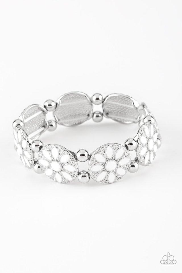 Dancing Dahlias - White - Paparazzi Bracelet Image