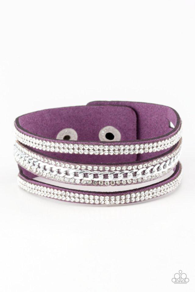 Rollin In Rhinestones - Purple - Paparazzi Bracelet Image