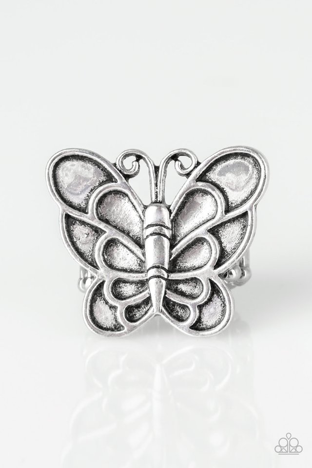 Sky High Butterfly - Silver - Paparazzi Ring Image