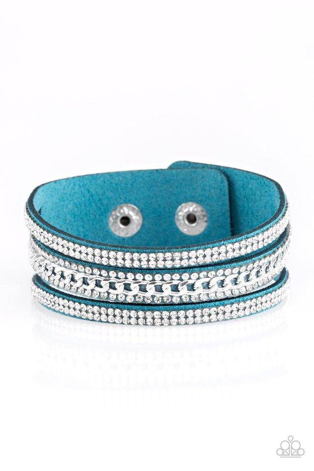 Rollin In Rhinestones - Blue - Paparazzi Bracelet Image