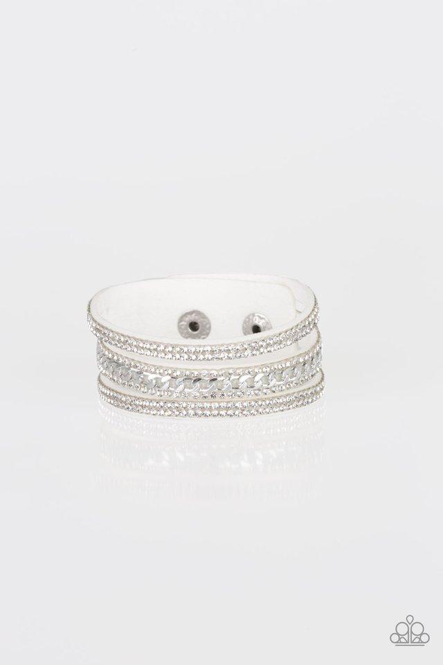 Rollin In Rhinestones - White - Paparazzi Bracelet Image