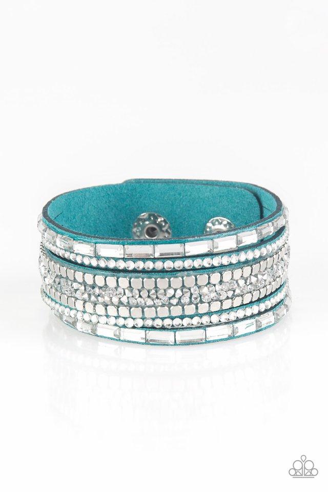 Rebel In Rhinestones - Blue - Paparazzi Bracelet Image