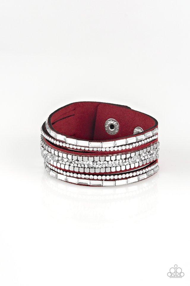 Rebel In Rhinestones - Red - Paparazzi Bracelet Image