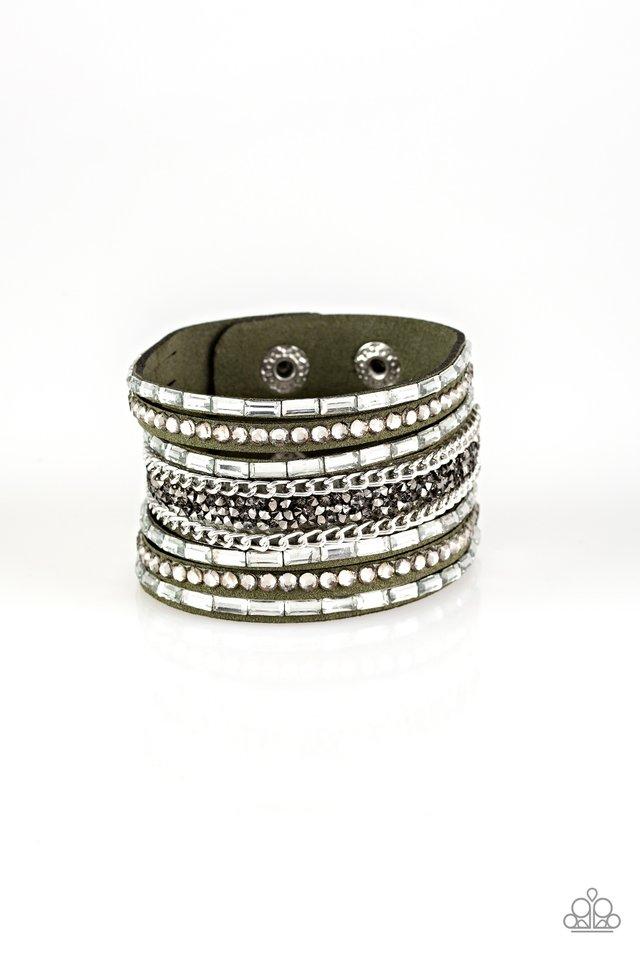 Rhinestone Rumble - Green - Paparazzi Bracelet Image