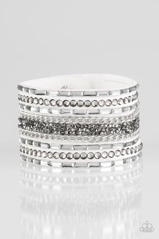 Rhinestone Rumble - White - Paparazzi Bracelet Image
