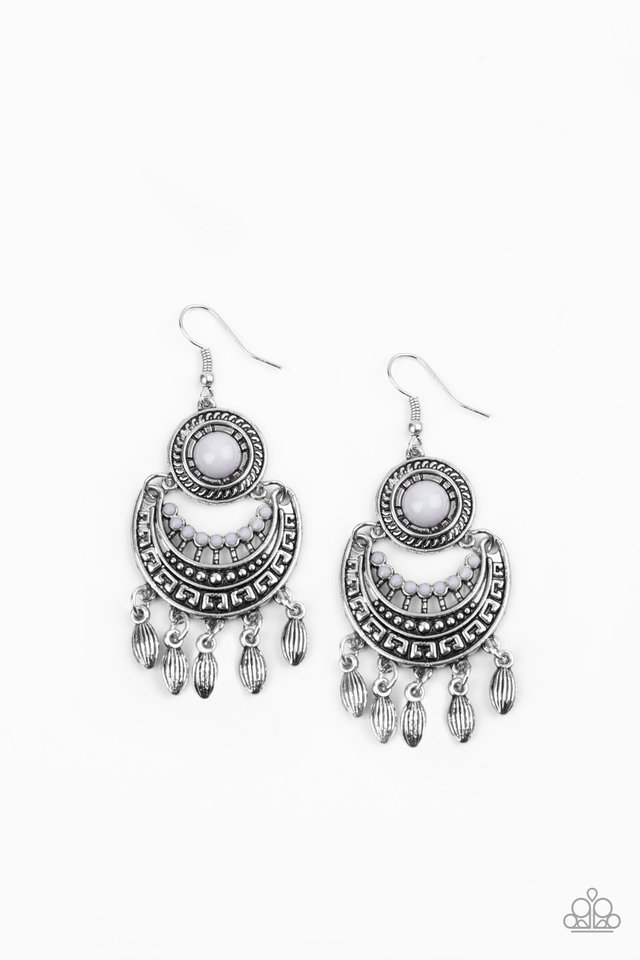 Mantra to Mantra - Silver - Paparazzi Earring Image