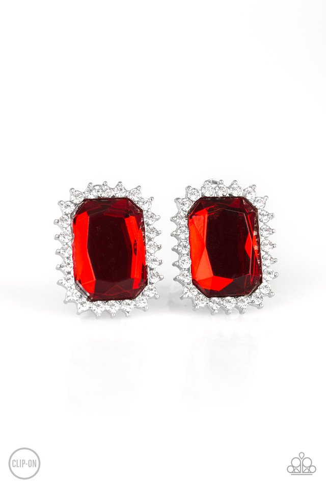 Downtown Dapper - Red Clip-On - Paparazzi Earring Image