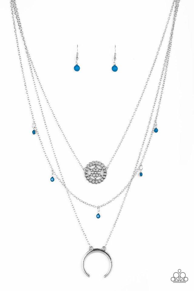 Lunar Lotus - Blue - Paparazzi Necklace Image