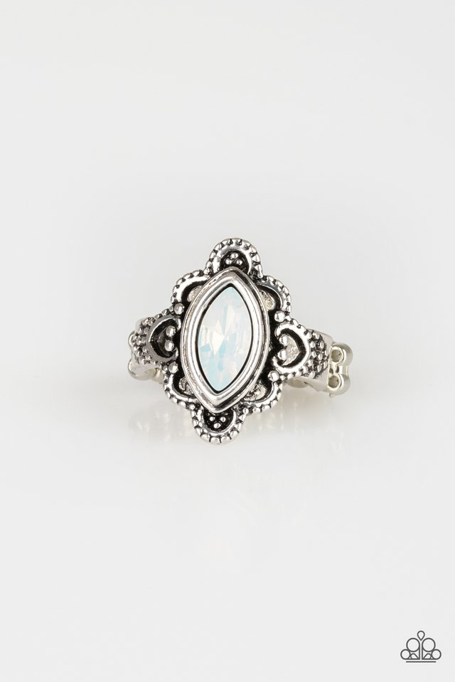 Glass Half-COLORFUL - White - Paparazzi Ring Image
