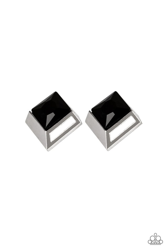 Stellar Square - Black - Paparazzi Earring Image