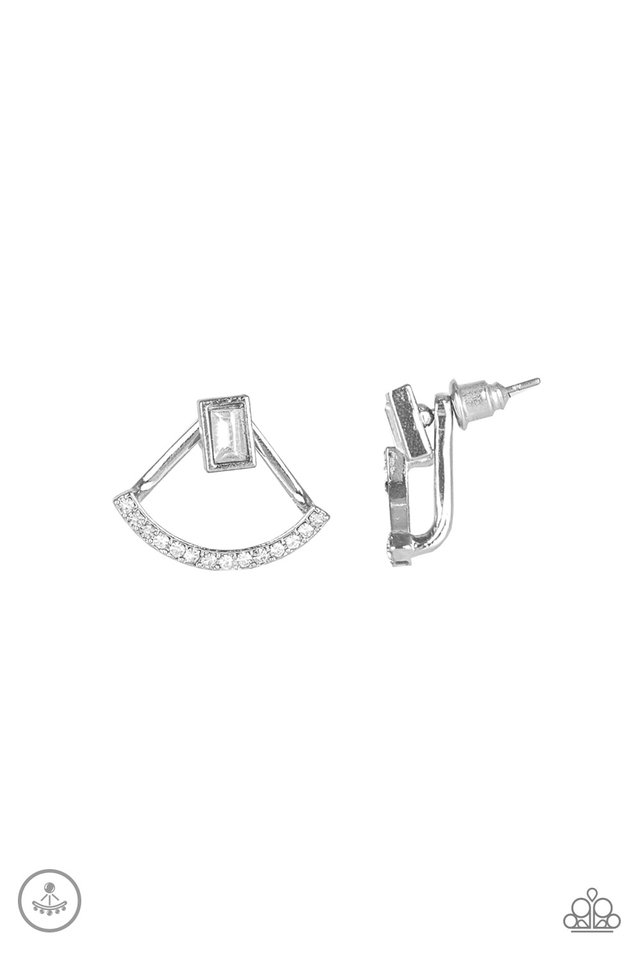Delicate Arches - White - Paparazzi Earring Image
