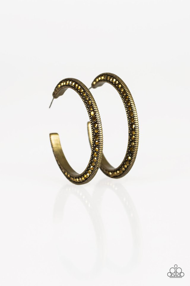 Dazzling Diamond-naire - Brass - Paparazzi Earring Image