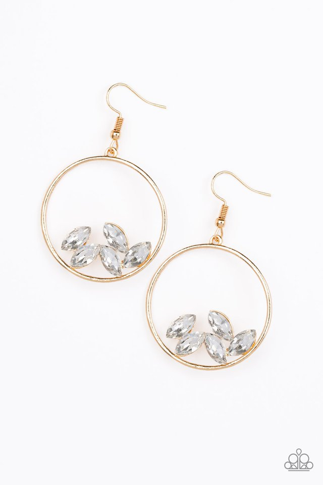 Cue The Confetti - Gold - Paparazzi Earring Image