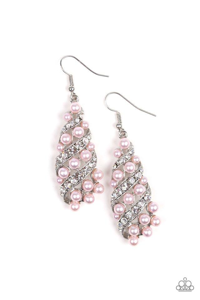 Ballroom Waltz - Pink - Paparazzi Earring Image
