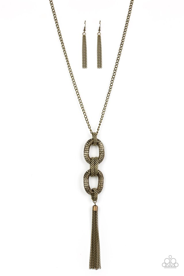 Enmeshed in Mesh - Brass - Paparazzi Necklace Image
