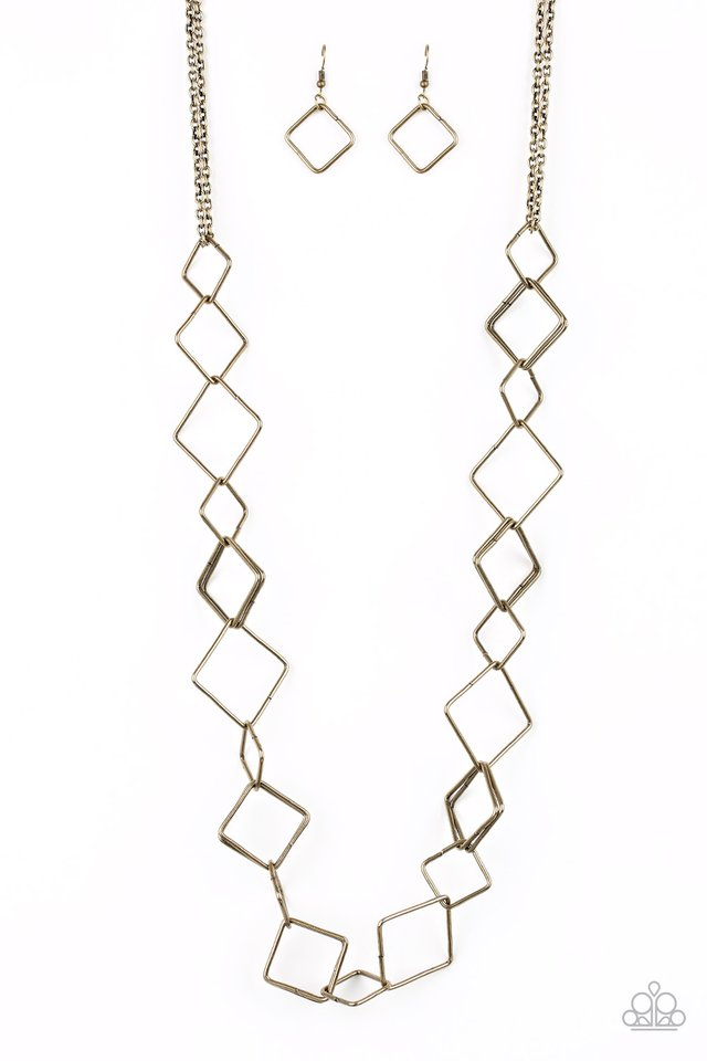 Backed Into A Corner - Brass - Paparazzi Necklace Image