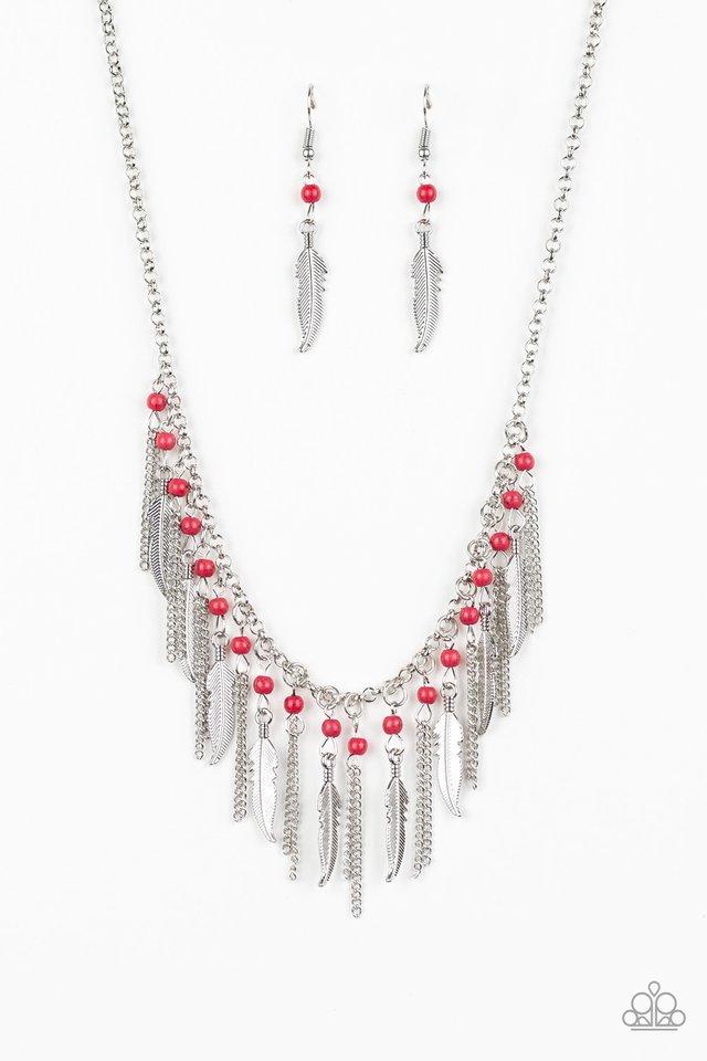 Feathered Ferocity - Red - Paparazzi Necklace Image