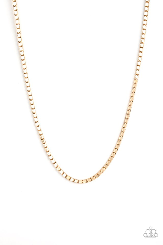 Boxed In - Gold - Paparazzi Necklace Image