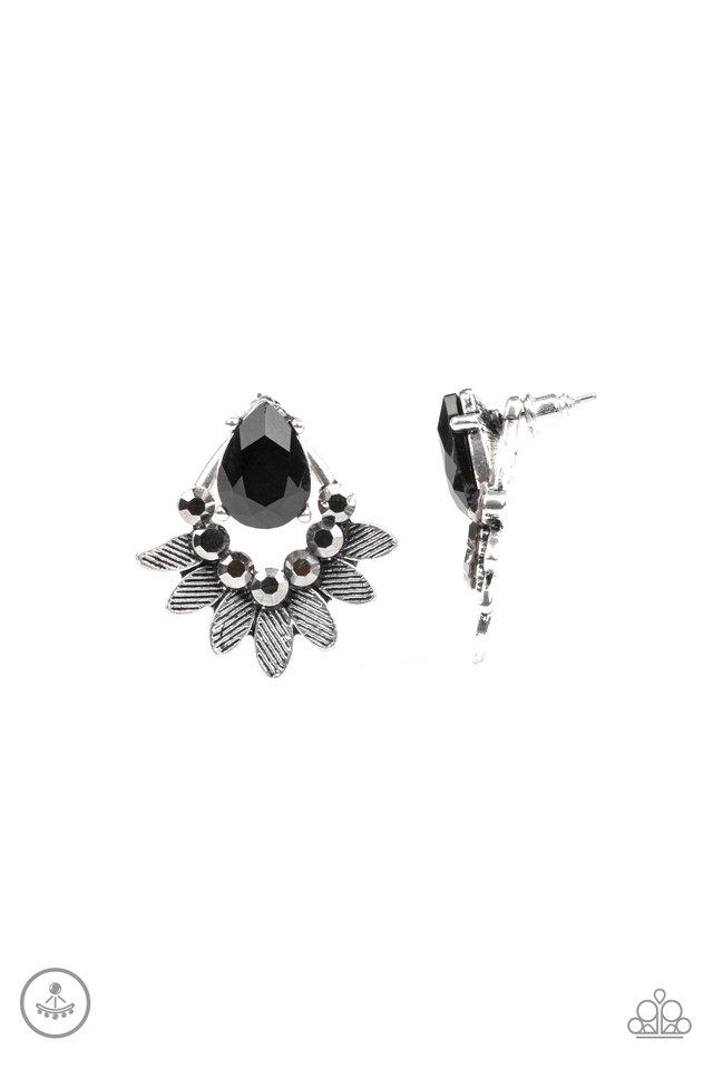 Crystal Canopy - Black - Paparazzi Earring Image