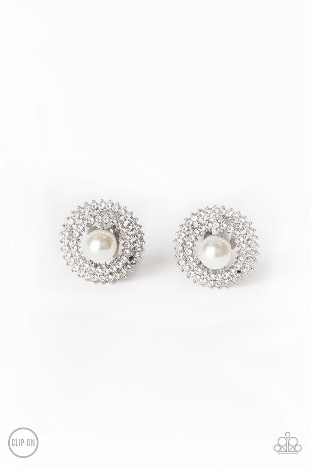 Broadway Breakout - White - Paparazzi Earring Image