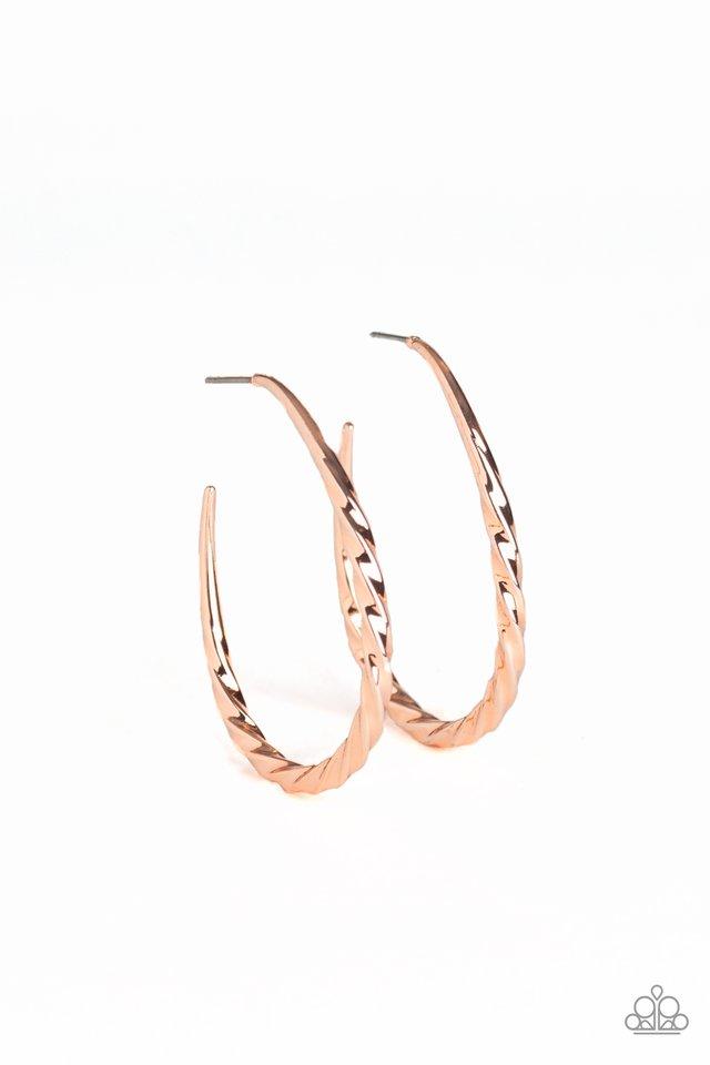 Twisted Edge - Rose Gold - Paparazzi Earring Image