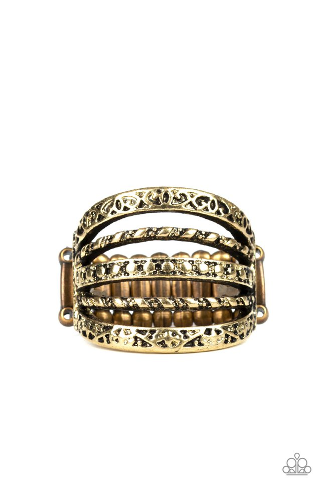 Textile Bliss - Brass - Paparazzi Ring Image