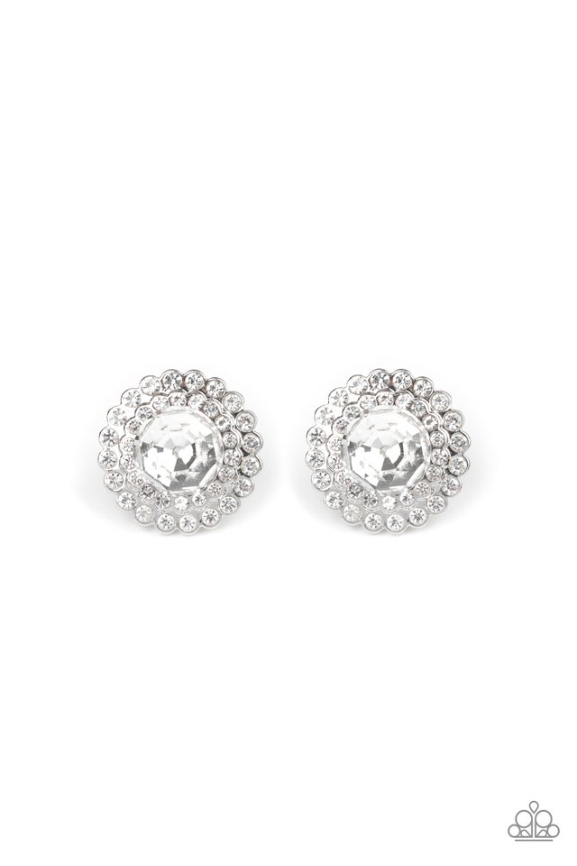 My Second Castle - White - Paparazzi Earring Image
